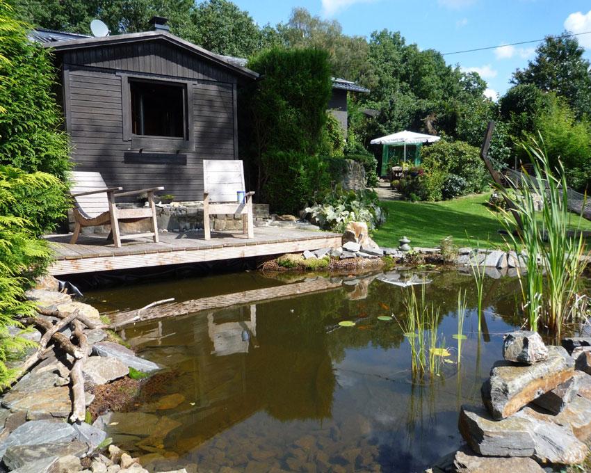 Teich mit for Gartengestaltung umrandung